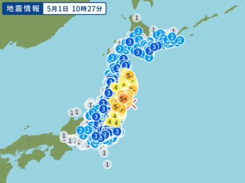 2021年51日に起きた宮城県沖を震源とする最大震度5強の地震の震度分布図