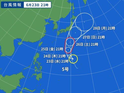 台風5号 2021の進路予想図