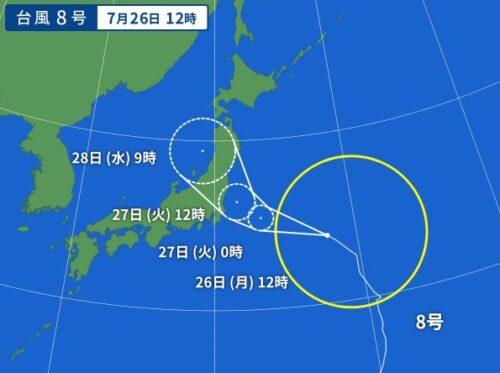 台風8号2021の予想進路