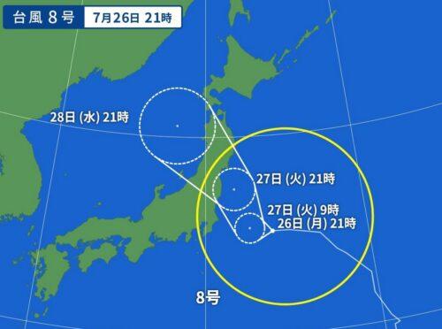 台風8号2021の7/26日21時の予想進路