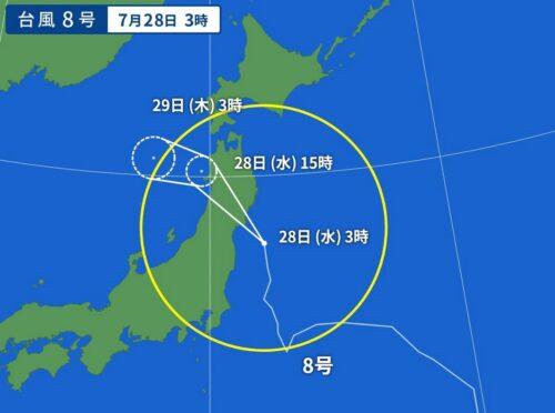 台風8号2021の7/28日3時の予想進路